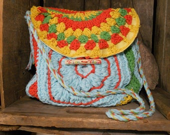Bright color handbag made entirely crochet.