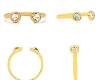 0.44ct Aquamarine Gold Vermeil over 925 Size P-Q