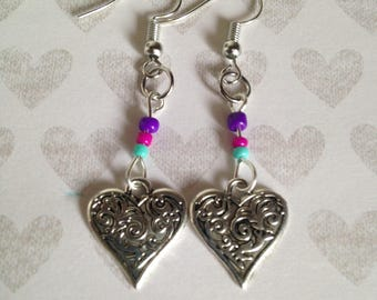 Heart Earrings - Tibetan Silver - Glass Beads - Pink - Purple - Blue - Dangle