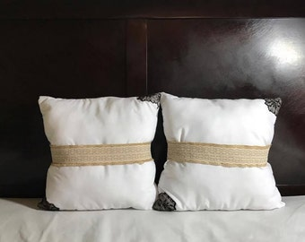 White Handmade Decorative Pillows with Gold Colored Lace Ribbon, Classic Style, High Quality, Unique Design, Cool & Stylish, One of a Kind