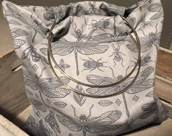 Mini grey-blue Beach Tote has grounds