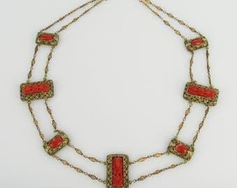 Vintage Art Deco Chinese Carved Coral Gilt Filigree Necklace