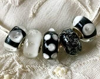 5 Lampwork Glass Beads Set, Murano Glass Beads, Larhe Hole Beads, Euro Charm Bracelet Beads