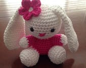 Bunny toy, white bunny, white and pink bunny, white and pink bunny with flower