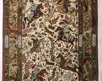Qum  hunting pure sillk carpet hand made very thick size 2.08 X 1.38, over 700,000 knots for square meter