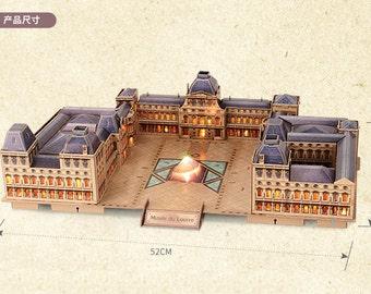 3D Paper Puzzle Handmade DIY Led Louvre Model France Paries Souvenir