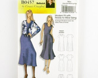Butterick Pattern 0457 Shift Dress, Waistline Tie-Front Overblouse, Sizes XS-XL, UNCUT Easy Sewing Pattern, Multi-Sized for Custom Fit