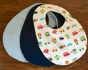 3 Pack Bibs, Drool Bib Set, Baby Bib, Cotton Bib, Baby Shower Gift, Transportation, Pin Stripes, Navy, Boy Bib Set, Baby Branch Boutique