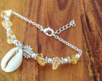 CITRINE + Cowrie Shell Bracelet