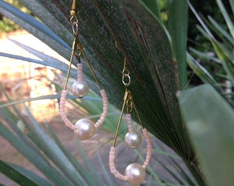 Fine and fancy pair of pink and white pearls earrings / handmade / unique product