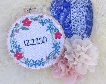 Custom date embroidery