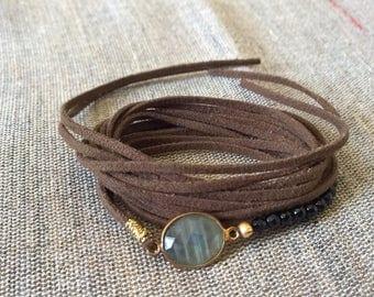 Slide bracelet double tie semiprecious stones