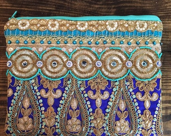 Blue and Gold Clutch. Embellished Purse.