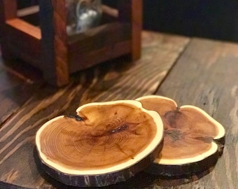 FREE SHIPPING! Yew Wood Live Edge Coaster Set (Set Of 6), Natural Edge Coasters, Rustic Live Edge, Wood Coaster, Wooden Coaster Set