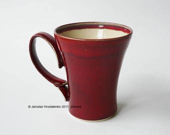 RED COFFEE MUG / Tea Mug, Certified Artist Made Stoneware, Food Safe, Microwave /Dishwasher Proof, Ready to Ship, Handmade Pottery Gift