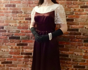 Night at the Opera ~ Ladies Burgundy Satin Formal Gown // Short Sleeve // lace + satin