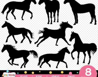 Horse svg silhouette pack - horses vector clipart digital download svg, png, jpg, eps