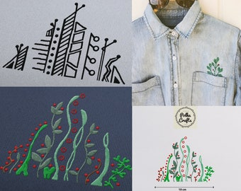 DIGITAL Printable PDF file - Hand drawn embroidery designs to refashion pockets
