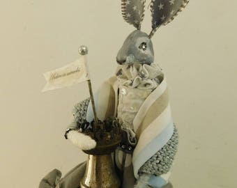 Rabbit art doll  Hare with vintage lamp  OOAK hare doll  Art doll  Oil lamp  Rabbit doll  Believe in Miracles  Handmade doll