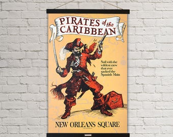 Pirates of the Caribbean New Orleans Square Disneyland Vintage Poster Hanging Canvas