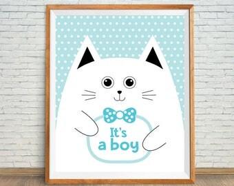 Cat Wall Poster, Nursery Cat Art, White Cat Print, Its A Boy Printable, Cat Nursery Decor, Cute Cat Art, Animal Nursery Print, Boy Print