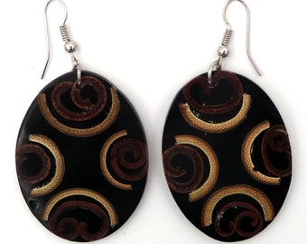 Ethnic earrings made of bamboo and cinnamon