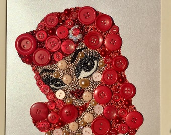Pin Up Girl, Button & Crystal Art, Buttons, Swarovski Crystal, Embellishments, Sparkles, Bling, Beautiful, Made To Order, Wall Art, Present