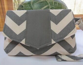 Small Grey/Natural Chevron Clutch, Wristlet, Makeup Bag, Purse (ver2)