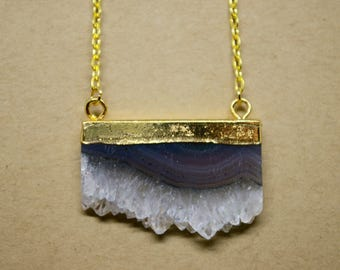 Quartz Amethyst Agate Geode Slice Necklace