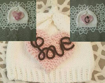 Sweet newborn baby  knitting hat.