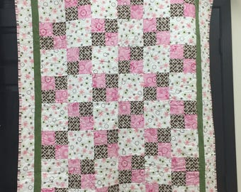 Pink/Brown/Green/White 4-Patch Flannel and Minky Baby Quilt