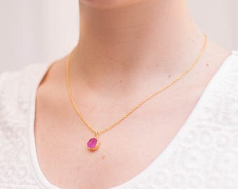 Chain gemstone yellow gold pink