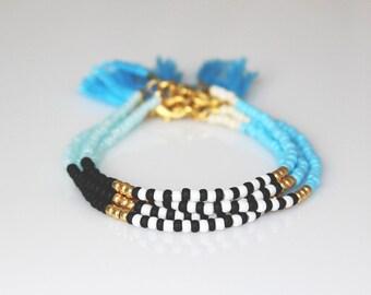 Boho chic bracelet friendship bracelet Tassel Bracelet ONE beaded  bracelet-Blue