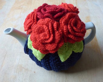 Flower teapot cosy/ Knitted teapot cosy/ Red flowers teapot cosy/ Handmade teapot cozy/ Roses teapot cosy