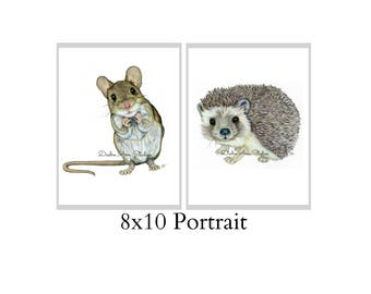 Set Of Two 8X10 Forest Animal Nursery Fine Art Prints - Automatic FREE Shipping - SKU100
