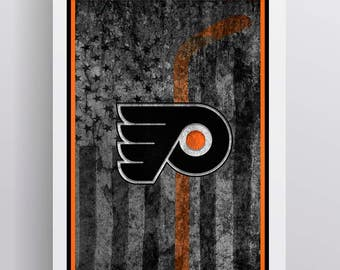Philadelphia Flyers Hockey Flag Poster, Flyers Hockey Flag Print, Philly Flyers in Front of American Flag