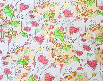 Fabric pink hearts and lime leaves (Jacquard weaving)
