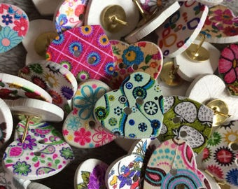 14 White Patterned Heart Push Pins