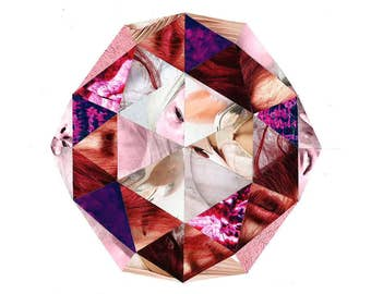 Pink #1 - original geometric pink & red paper collage art