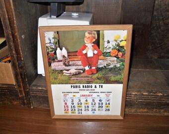 paris radio tv ottumwa ia 1967 wood glass frame wall calendar display early to rise milk boy