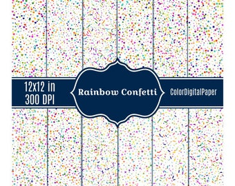 Rainbow Confetti Paper, Birthday Digital Paper Commercial Use Printable Scrapbook Instant Download Confetti Background Birthday Party DP9