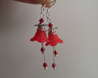 Forest flower earrings red