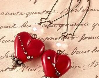 Flat Red Heart Lampwork Earrings SRA