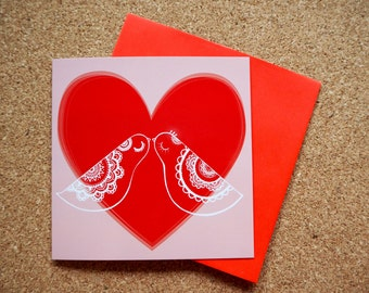 Love Birds - Square Greeting Card - 141mm x 141mm