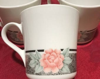 "6 Vintage Corelle by Corning cups/mugs  ""Silk and Roses"""