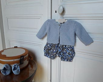 """CARDIGAN """"TRICOTI-TRICOTA"""" blue sky sent in a small linen bag"""