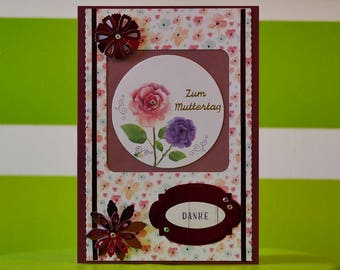 Greeting card - mother's day - thank you - handmade one of a kind
