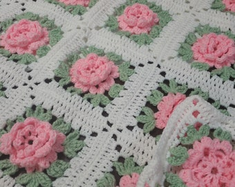 Crocheted Rose Blanket