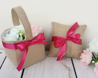 Burlap flower girl basket and ring pillow