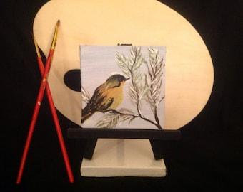 "Acrylic painting ""Bird on a branch"", miniature, original artwork, snow, branch"